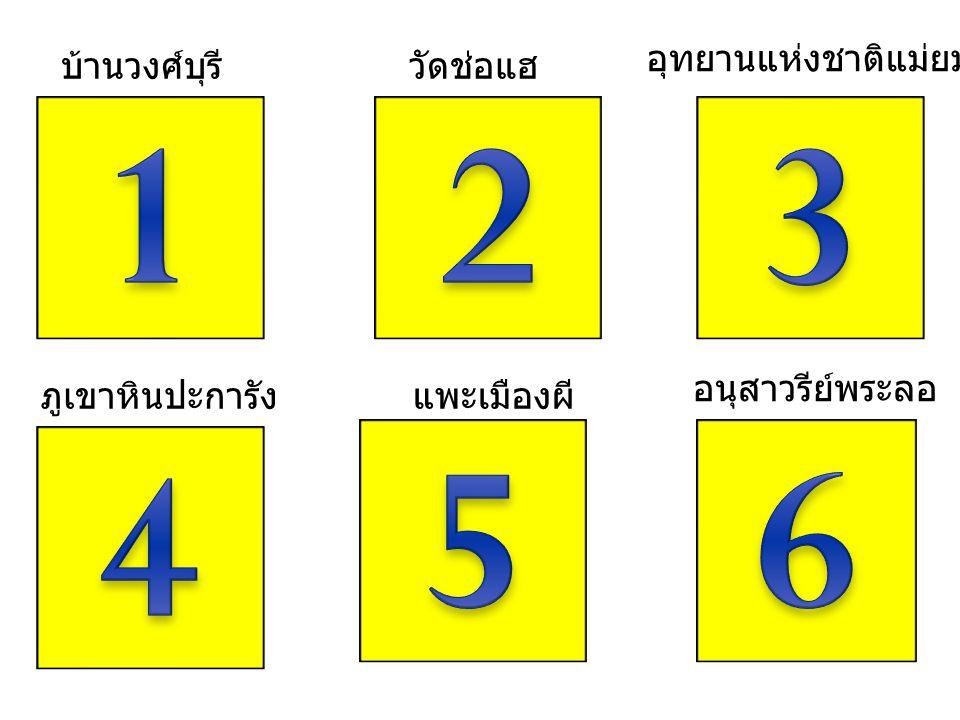 1 2 3 5 6 4 อุทยานแห่งชาติแม่ยม บ้านวงศ์บุรี วัดช่อแฮ อนุสาวรีย์พระลอ