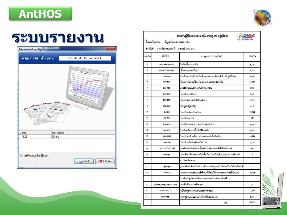 AntHOS ระบบรายงาน