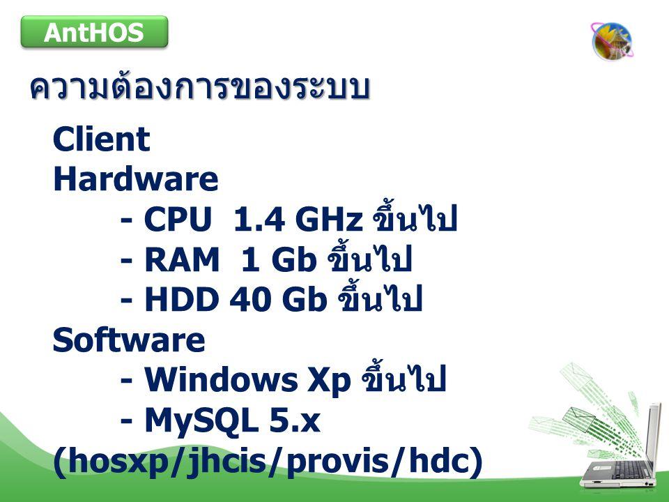 ความต้องการของระบบ Client Hardware - CPU 1.4 GHz ขึ้นไป
