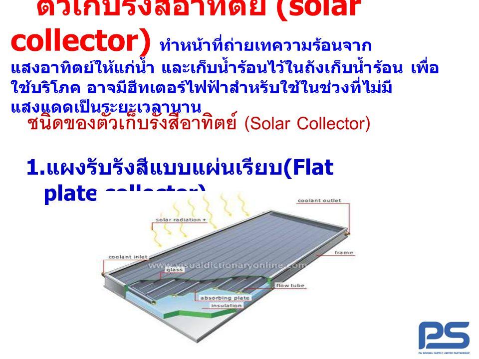 ตัวเก็บรังสีอาทิตย์ (solar collector) ทำหน้าที่ถ่ายเทความร้อนจากแสงอาทิตย์ให้แก่น้ำ และเก็บน้ำร้อนไว้ในถังเก็บน้ำร้อน เพื่อใช้บริโภค อาจมีฮีทเตอร์ไฟฟ้าสำหรับใช้ในช่วงที่ไม่มีแสงแดดเป็นระยะเวลานาน