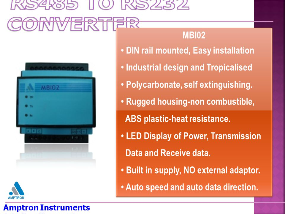 RS485 TO RS232 CONVERTER MBI02 • DIN rail mounted, Easy installation