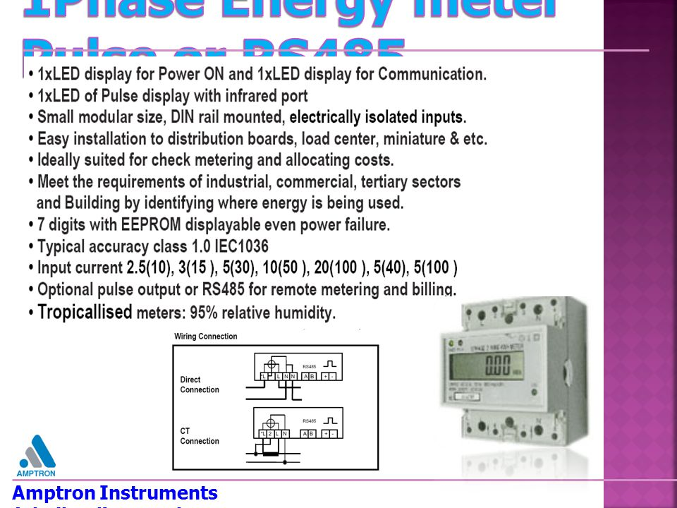 1Phase Energy meter Pulse or RS485