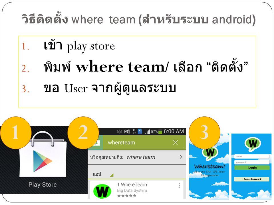 วิธีติดตั้ง where team (สำหรับระบบ android)