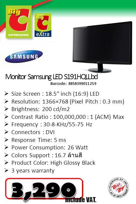 3,290 Monitor Samsung LED S191HQLL bd