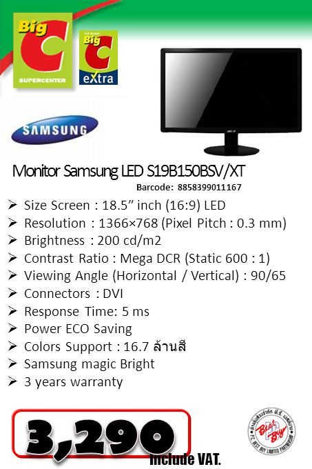 3,290 Monitor Samsung LED S19B150BSV / XT