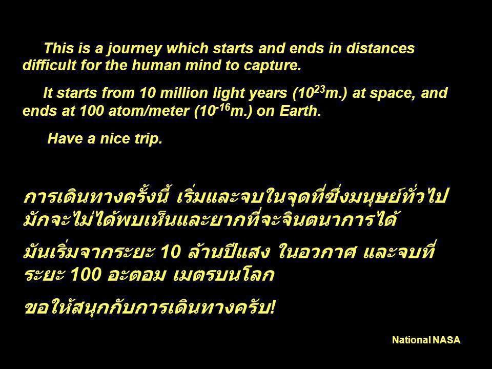 มันเริ่มจากระยะ 10 ล้านปีแสง ในอวกาศ และจบที่ระยะ 100 อะตอม เมตรบนโลก