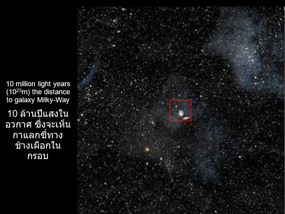 10 ล้านปีแสงในอวกาศ ซึ่งจะเห็นกาแลกซี่ทาง ช้างเผือกในกรอบ