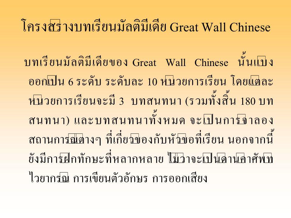 โครงสร้างบทเรียนมัลติมีเดีย Great Wall Chinese