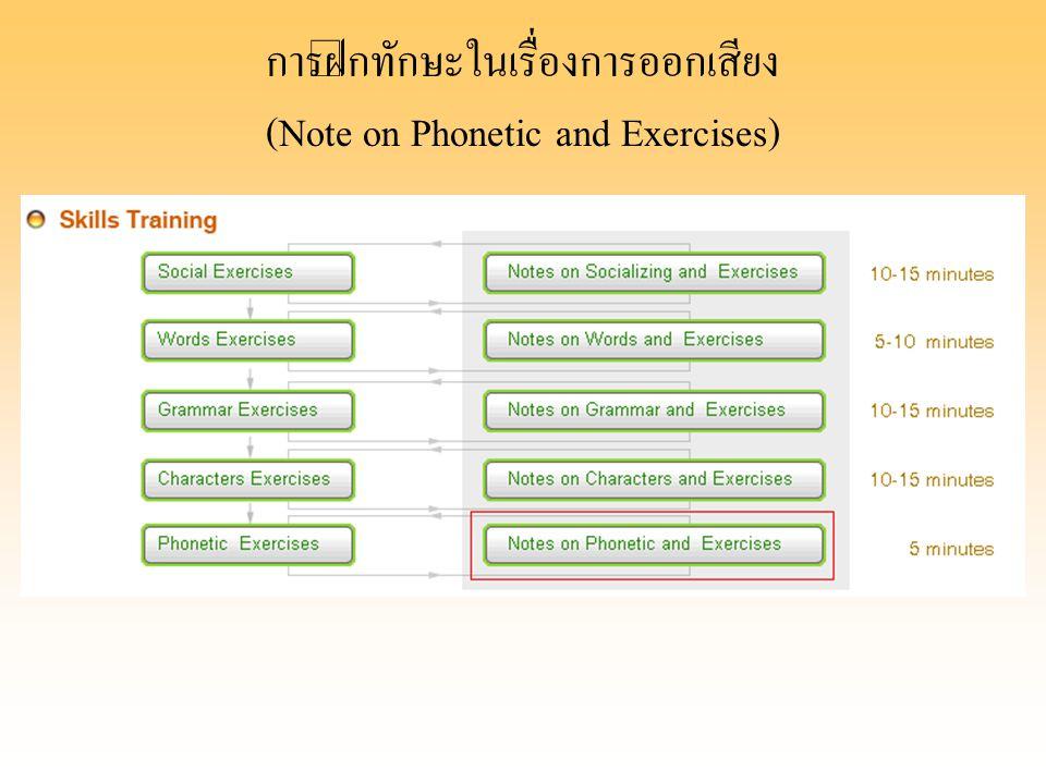 การฝึกทักษะในเรื่องการออกเสียง (Note on Phonetic and Exercises)