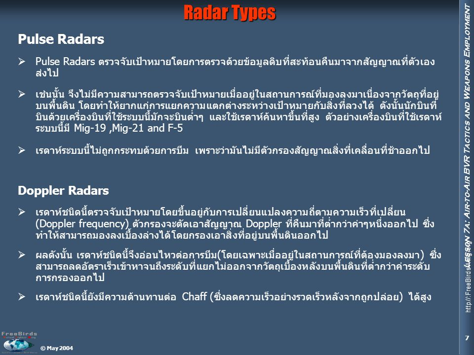 Radar Types Pulse Radars Doppler Radars