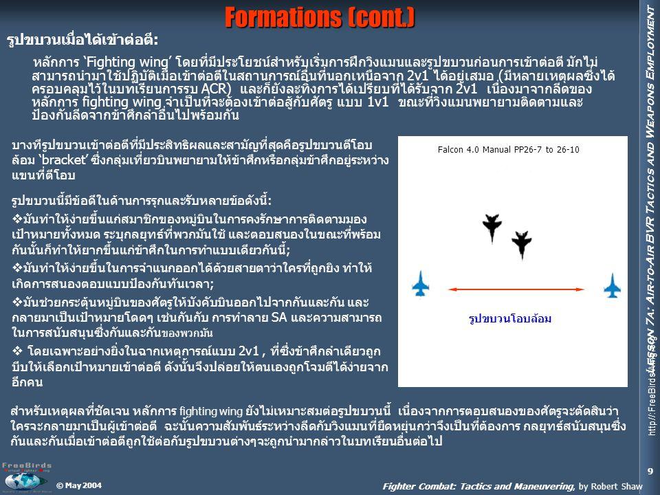 Formations (cont.) รูปขบวนเมื่อได้เข้าต่อตี: