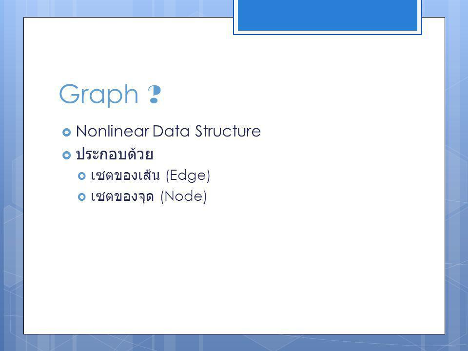 Graph Nonlinear Data Structure ประกอบด้วย เซตของเส้น (Edge)