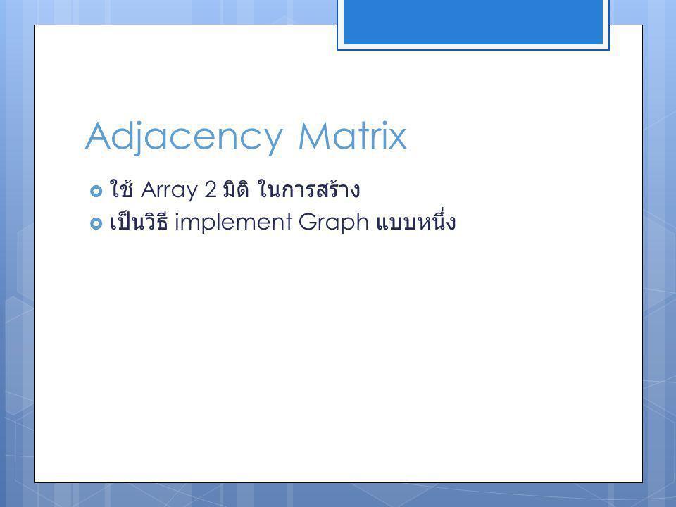 Adjacency Matrix ใช้ Array 2 มิติ ในการสร้าง