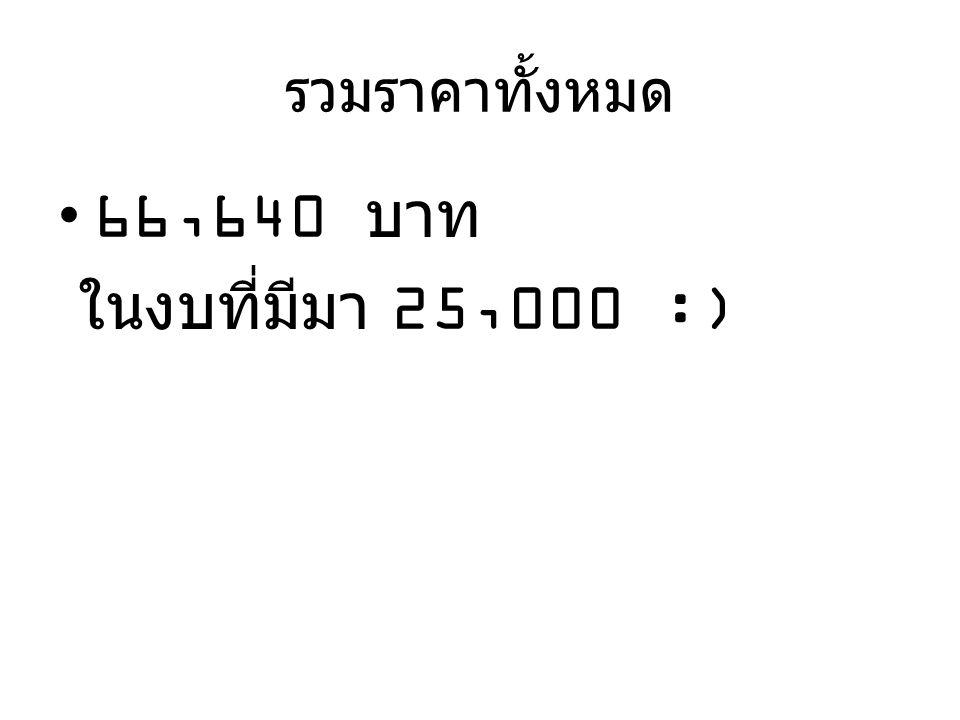 รวมราคาทั้งหมด 66,640 บาท ในงบที่มีมา 25,000 :)