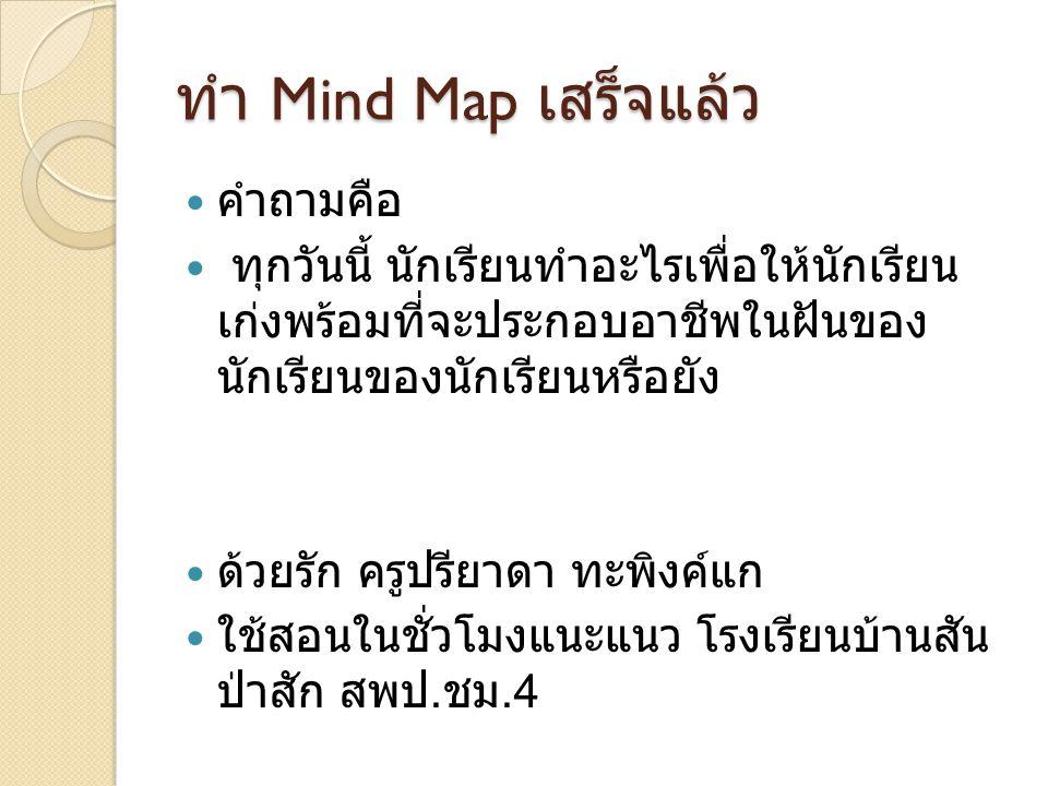 ทำ Mind Map เสร็จแล้ว คำถามคือ