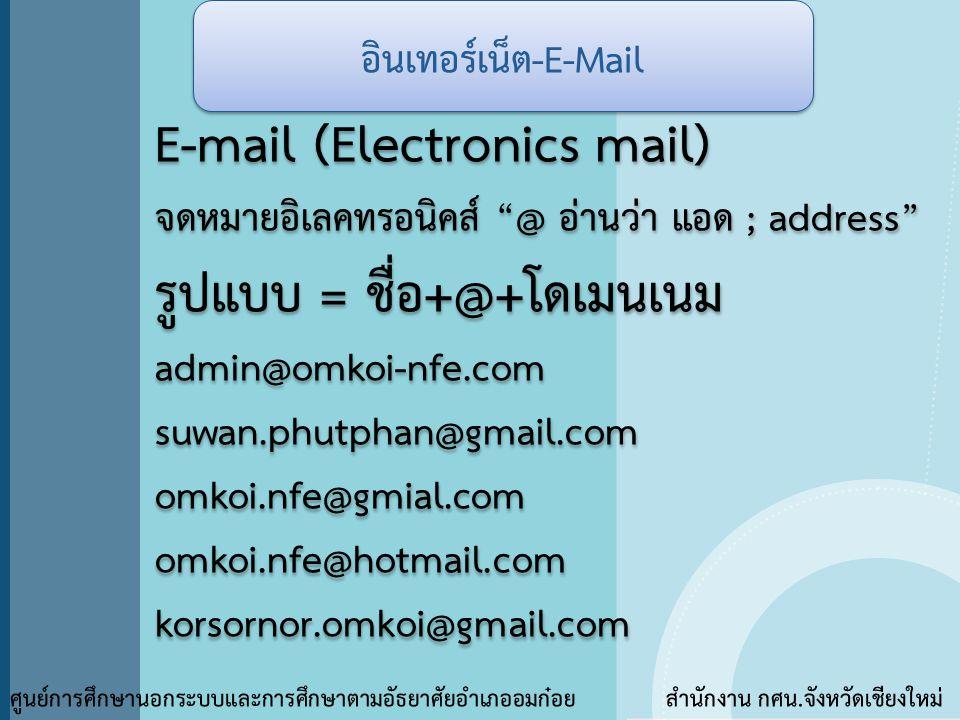 E-mail (Electronics mail) รูปแบบ = ชื่อ+@+โดเมนเนม