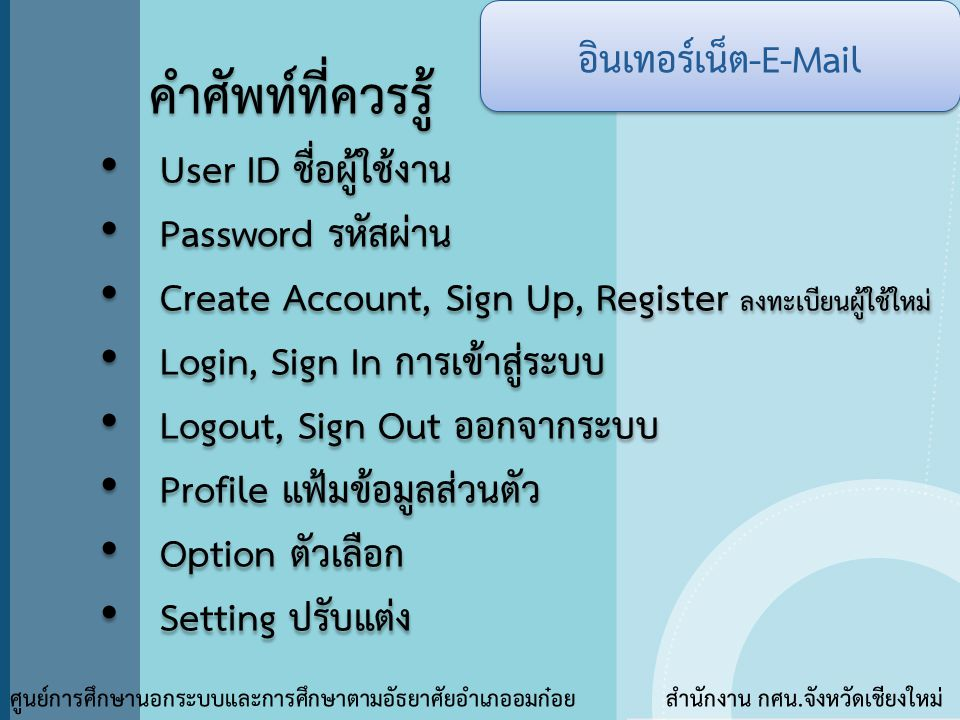 คำศัพท์ที่ควรรู้ อินเทอร์เน็ต-E-Mail User ID ชื่อผู้ใช้งาน