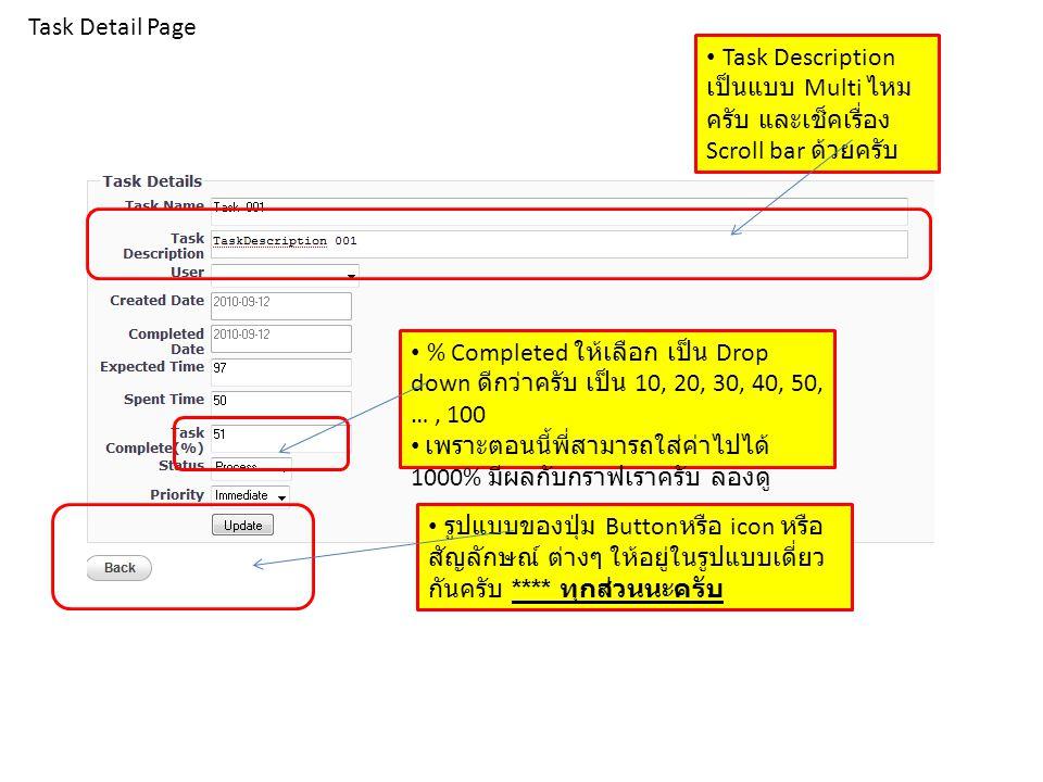 Task Detail Page Task Description เป็นแบบ Multi ไหมครับ และเช็คเรื่อง Scroll bar ด้วยครับ.