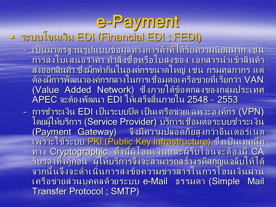e-Payment ระบบโอนเงิน EDI (Financial EDI ; FEDI)
