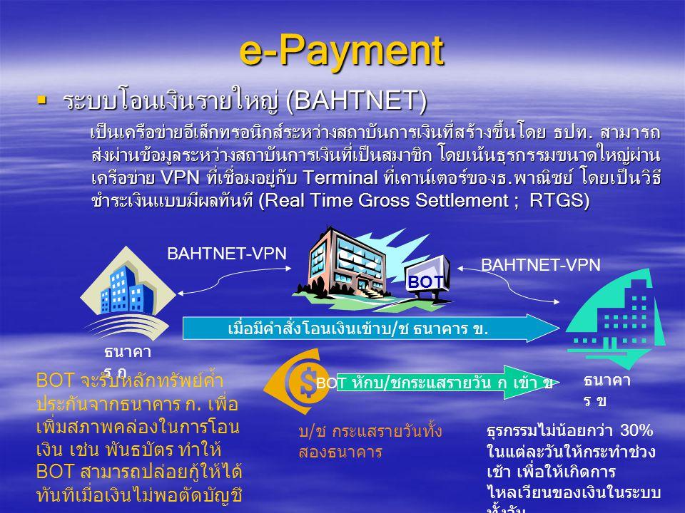 e-Payment ระบบโอนเงินรายใหญ่ (BAHTNET)