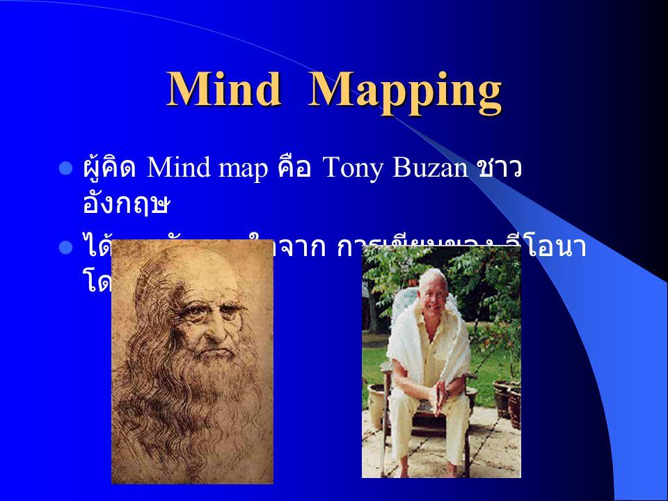 Mind Mapping ผู้คิด Mind map คือ Tony Buzan ชาวอังกฤษ