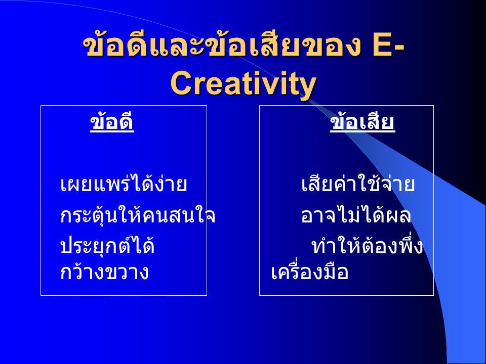 ข้อดีและข้อเสียของ E-Creativity