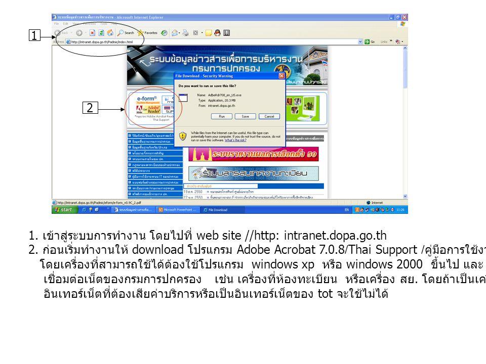 1 2. 1. เข้าสู่ระบบการทำงาน โดยไปที่ web site //http: intranet.dopa.go.th.