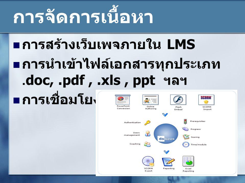 การจัดการเนื้อหา การสร้างเว็บเพจภายใน LMS