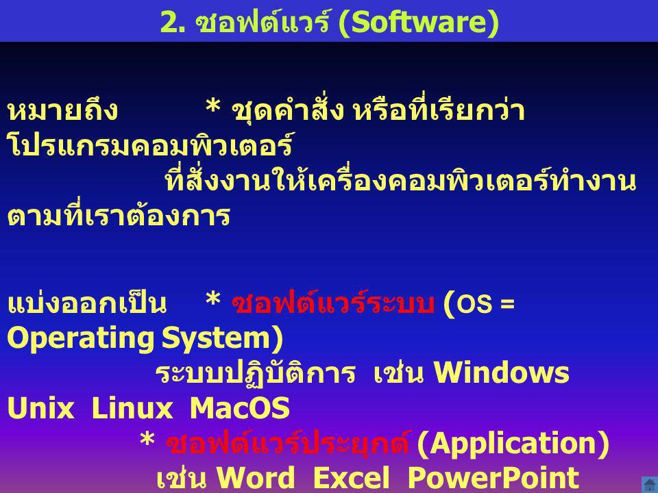 2. ซอฟต์แวร์ (Software) หมายถึง * ชุดคำสั่ง หรือที่เรียกว่า โปรแกรมคอมพิวเตอร์ ที่สั่งงานให้เครื่องคอมพิวเตอร์ทำงานตามที่เราต้องการ.