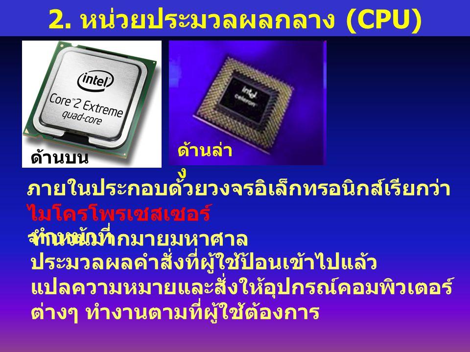2. หน่วยประมวลผลกลาง (CPU)