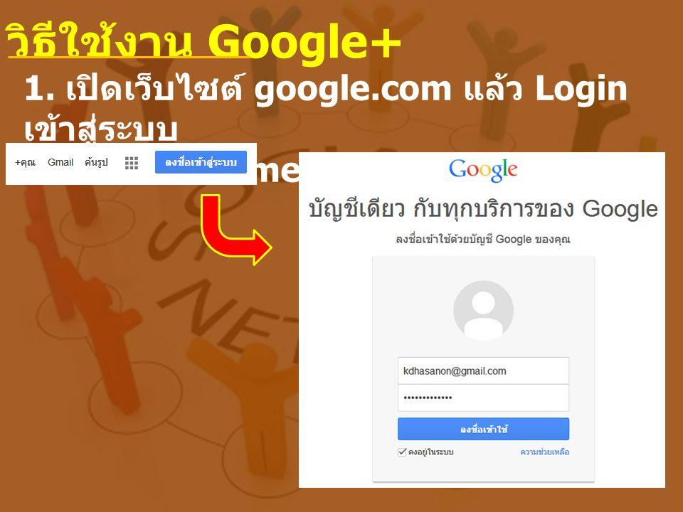 วิธีใช้งาน Google+ 1. เปิดเว็บไซต์ google.com แล้ว Login เข้าสู่ระบบ