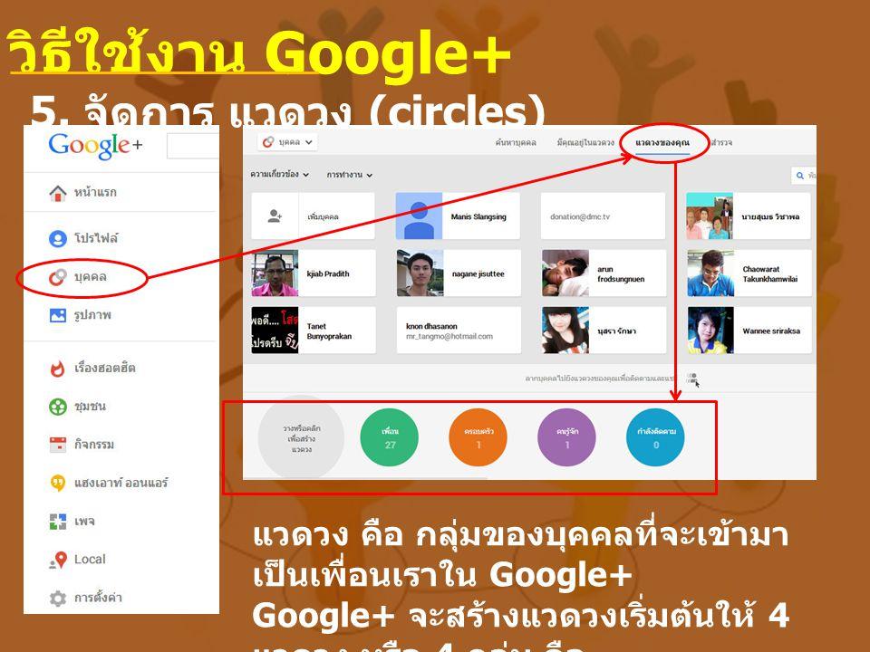 วิธีใช้งาน Google+ 5. จัดการ แวดวง (circles)