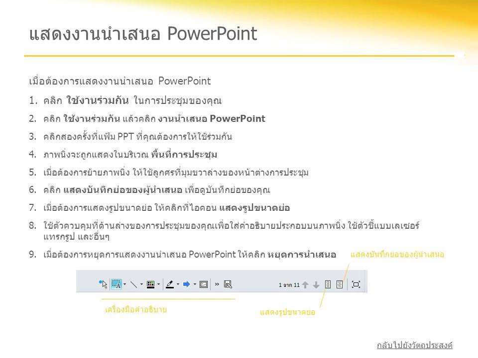 แสดงงานนำเสนอ PowerPoint