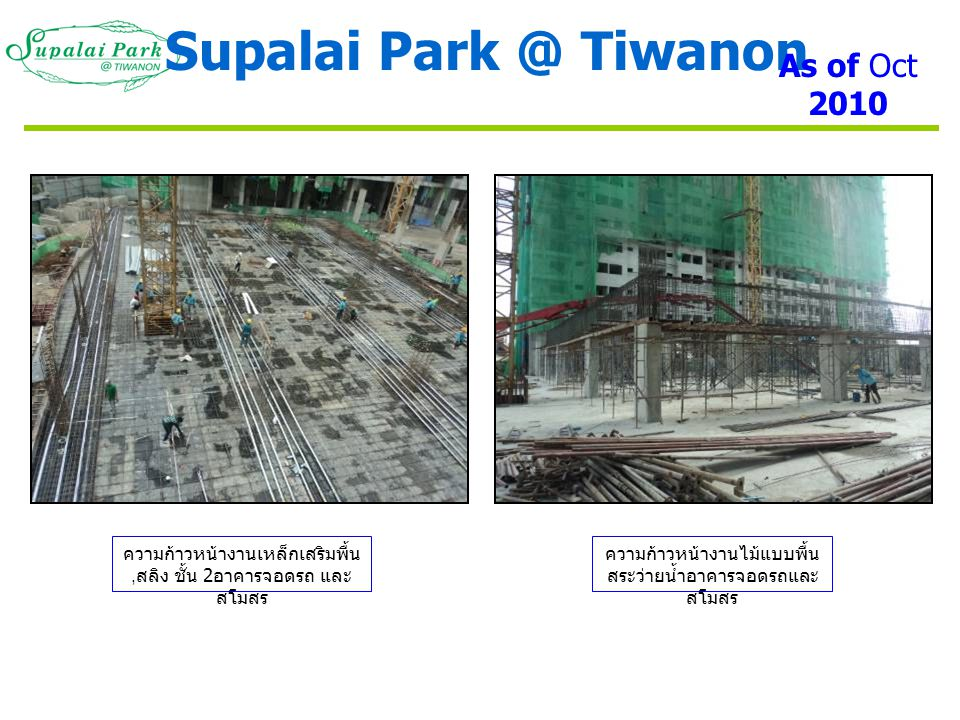 Supalai Tiwanon As of Oct 2010
