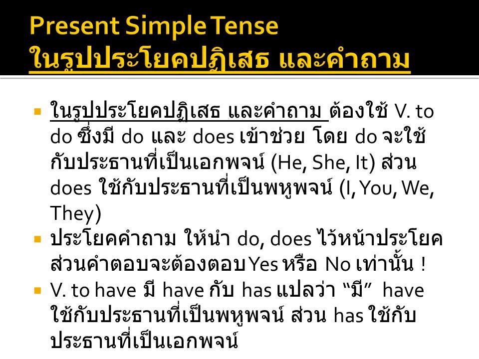 Present Simple Tense ในรูปประโยคปฏิเสธ และคำถาม