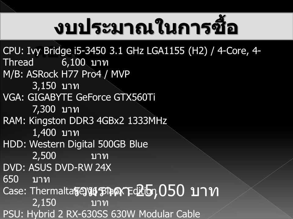 งบประมาณในการซื้อคอมพิวเตอร์ 25,050 บาท