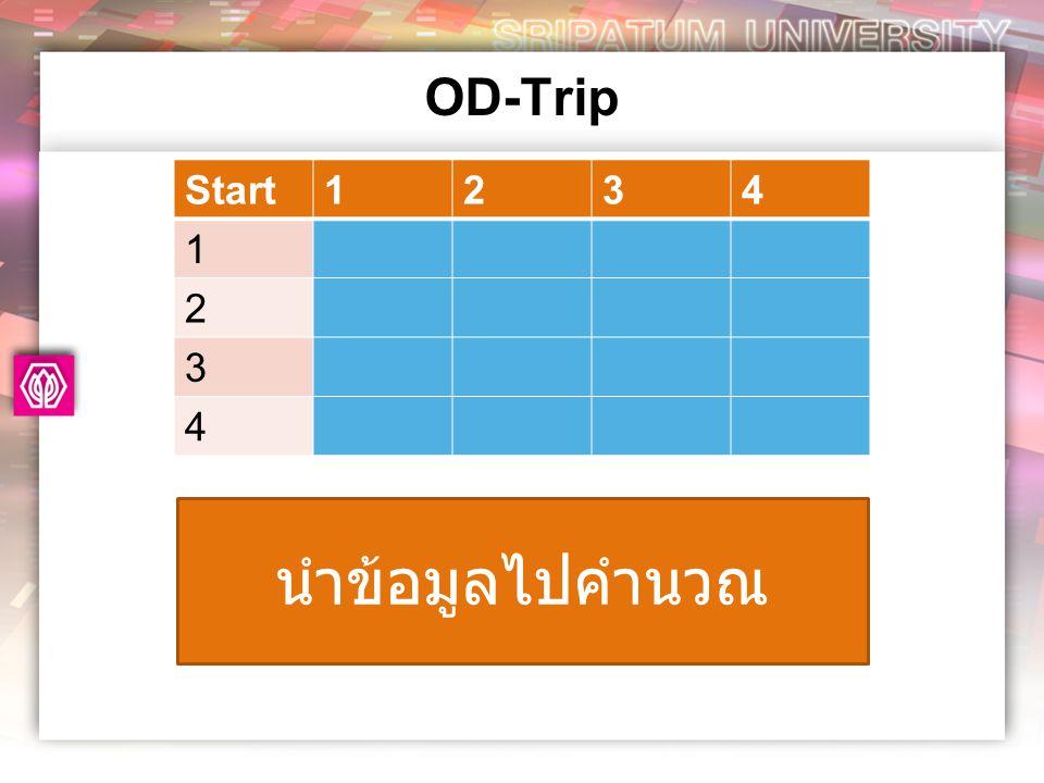 OD-Trip Start 1 2 3 4 นำข้อมูลไปคำนวณ