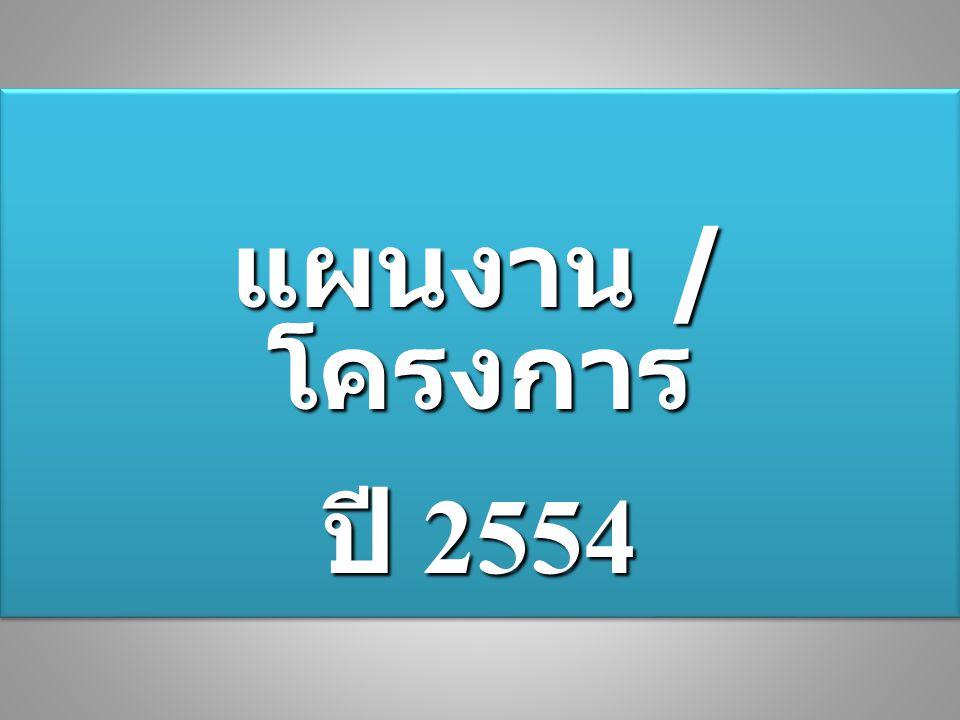 แผนงาน / โครงการ ปี 2554