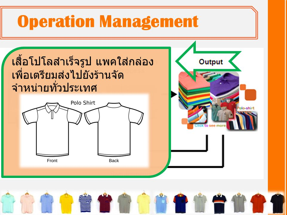 Operation Management เสื้อโปโลสำเร็จรูป แพคใส่กล่อง เพื่อเตรียมส่งไปยังร้านจัดจำหน่ายทั่วประเทศ