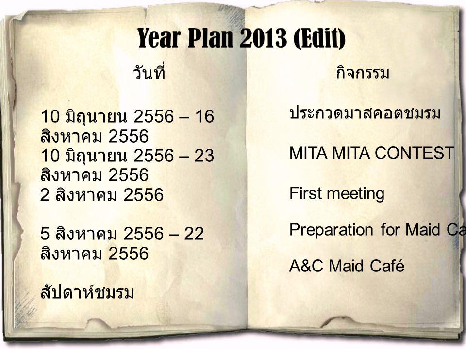 Year Plan 2013 (Edit) วันที่