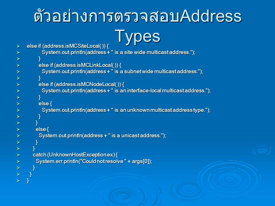 ตัวอย่างการตรวจสอบAddress Types