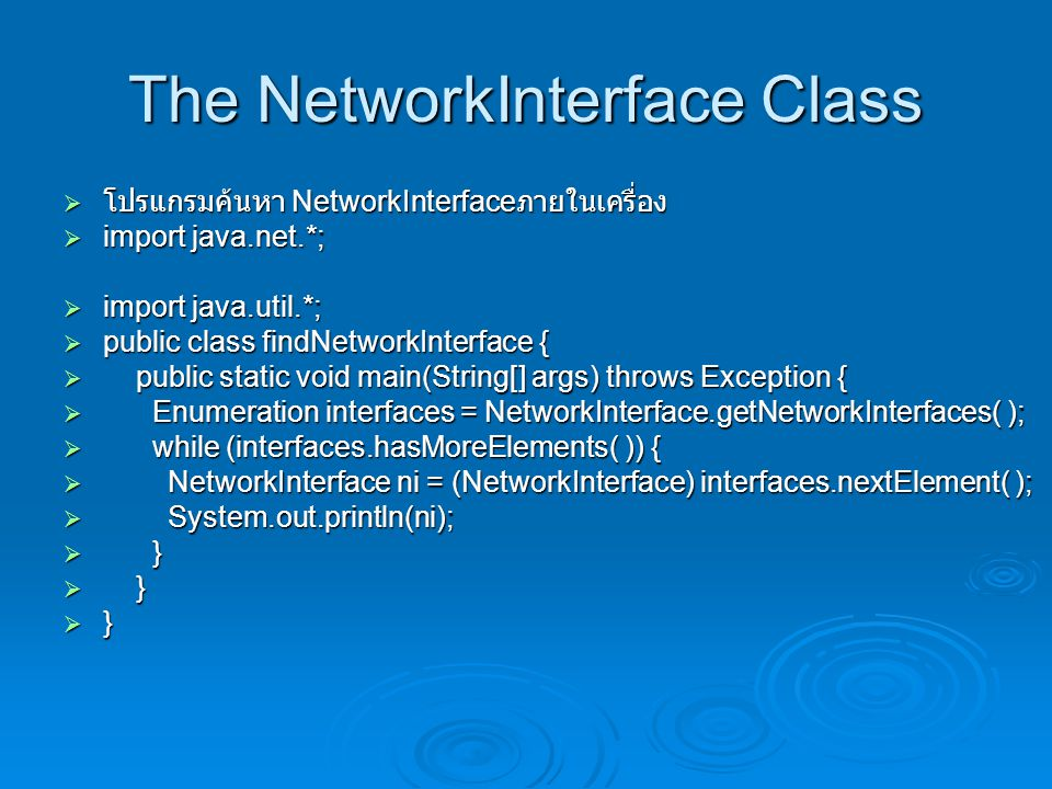 The NetworkInterface Class