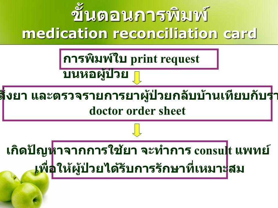 ขั้นตอนการพิมพ์ medication reconciliation card