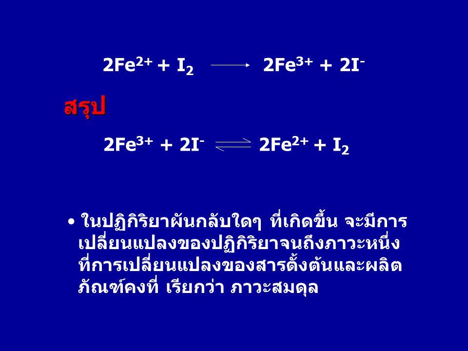 สรุป 2Fe2+ + I2 2Fe3+ + 2I- 2Fe3+ + 2I- 2Fe2+ + I2