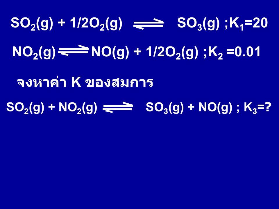 SO2(g) + 1/2O2(g) SO3(g) ;K1=20 NO2(g) NO(g) + 1/2O2(g) ;K2 =0.01