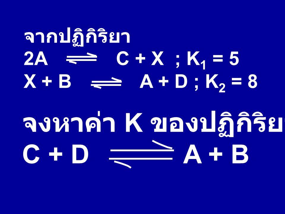 จงหาค่า K ของปฏิกิริยา C + D A + B