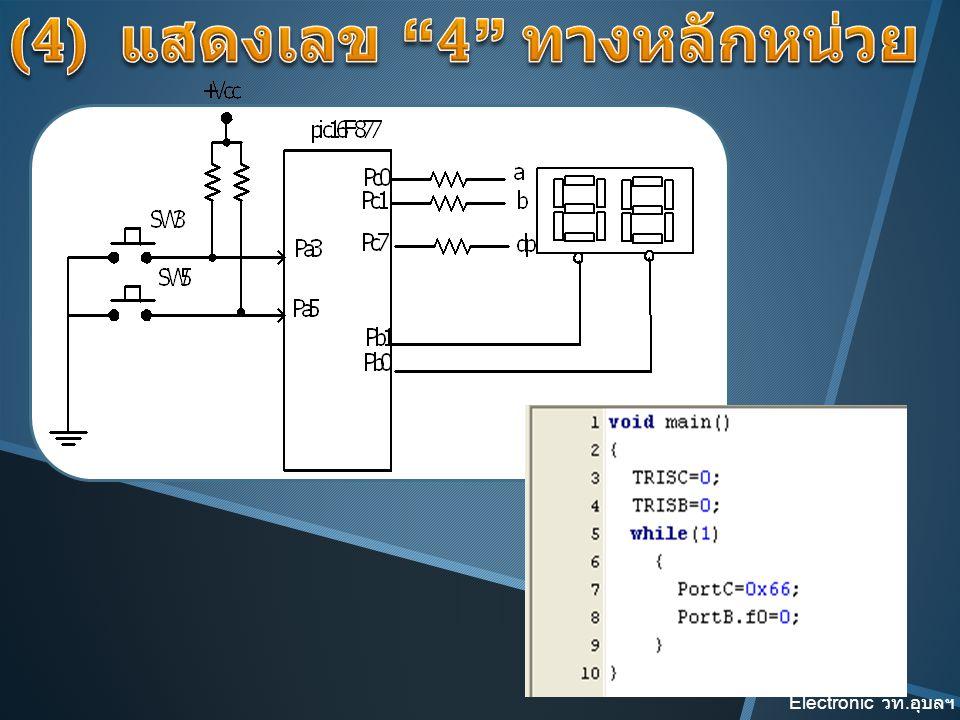 (4) แสดงเลข 4 ทางหลักหน่วย