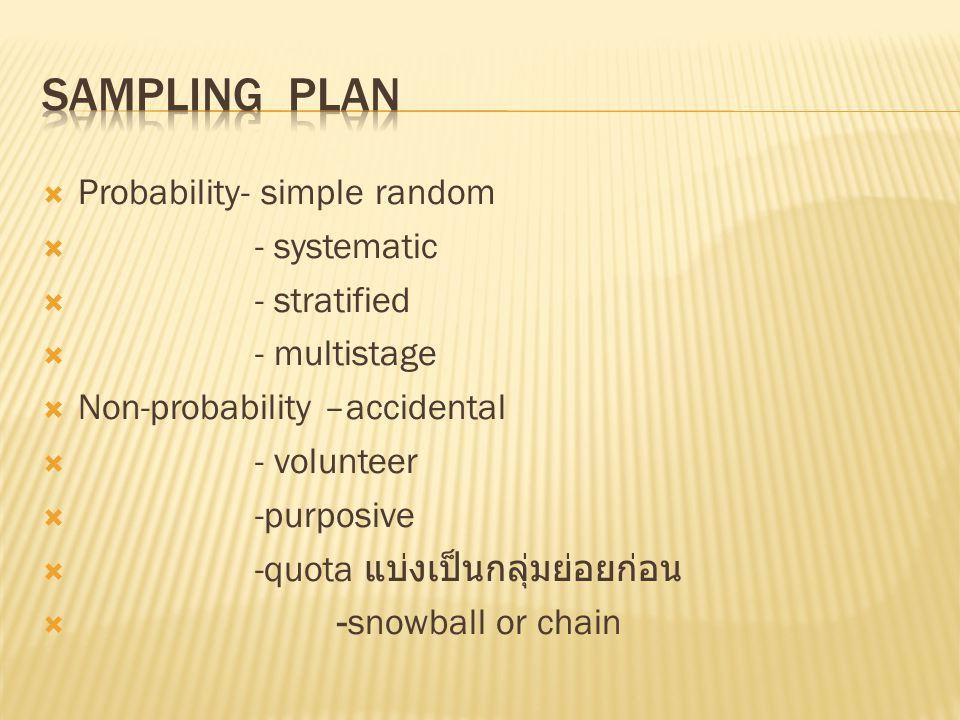 Sampling Plan Probability- simple random - systematic - stratified