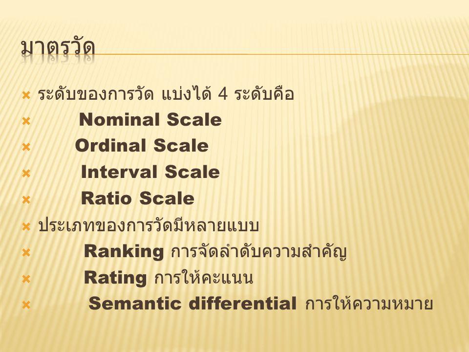 มาตรวัด ระดับของการวัด แบ่งได้ 4 ระดับคือ Nominal Scale Ordinal Scale