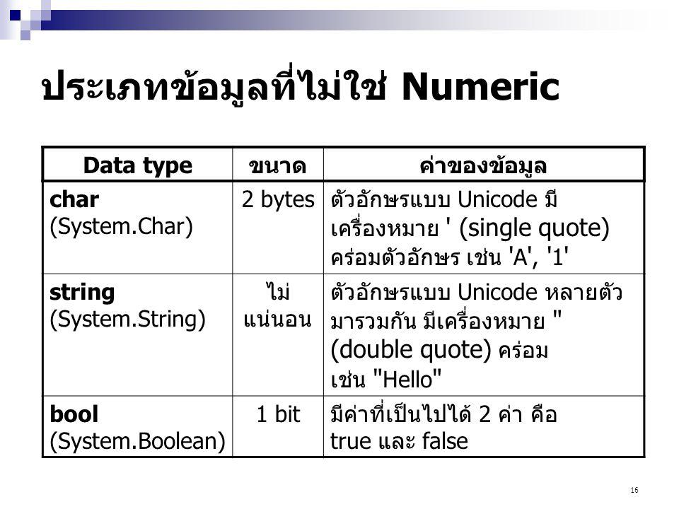ประเภทข้อมูลที่ไม่ใช่ Numeric